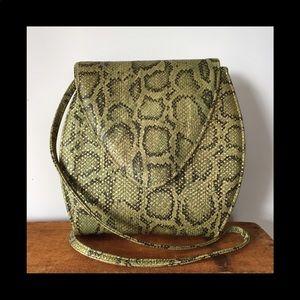 Vintage faux crock cross body bag leather green